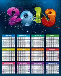 Vektorkalender 2013 Neues Jahr