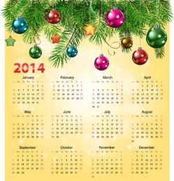 Calendario 2014 con bola de navidad