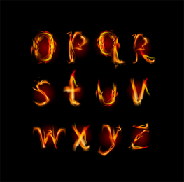 Flame English Letters 01 Vector