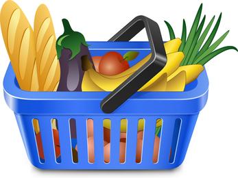 Frutas Y Verduras Y Cesta De La Compra 05 Vector