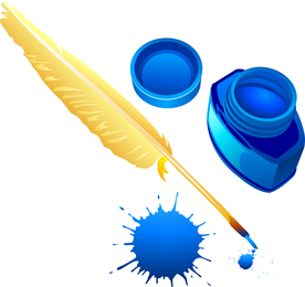 Quill And Ink Bottle Vector