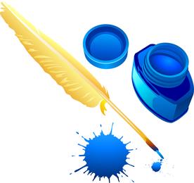Vector de botella de tinta y pluma