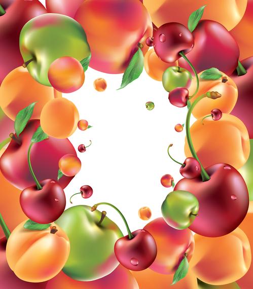 Ilustraciones de frutas marco de fondo 3D - Descargar vector