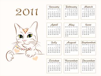 2011 Calendar Template 03 Vector