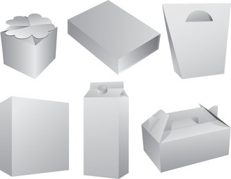 Vector 5 caja en blanco