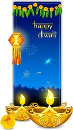 Bela Diwali cartões 07 Vector
