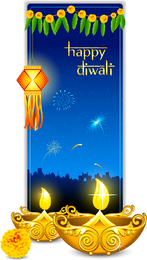 Hermosas Tarjetas Diwali 07 Vector