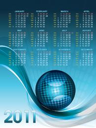 Modelo de calendário 2011 com esfera