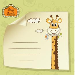Giraffe Greeting Card 04 Vector