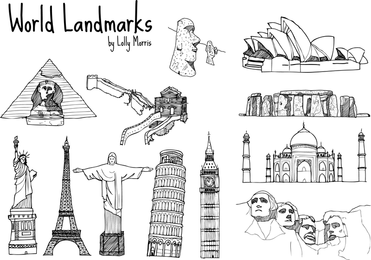 Free Land Drawn World Landmark Vectors