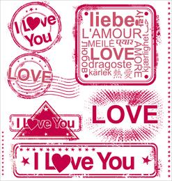 Sello de amor romántico 01 Vector