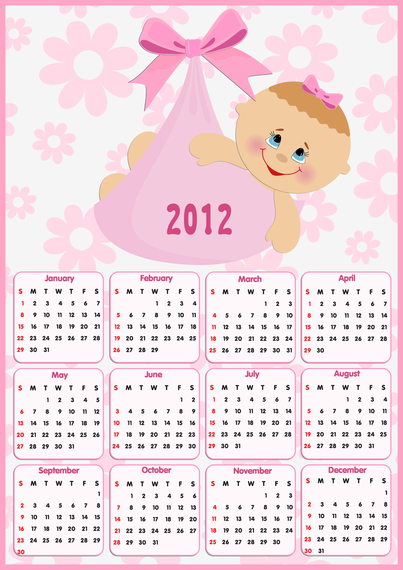 Beautiful 2012 Calendar 01 Vector