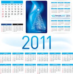 Hermoso calendario 2011 Plantilla 03 Vector