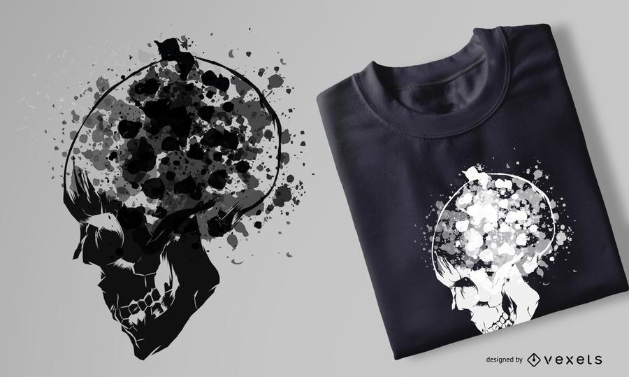 Diseño de camiseta de calavera de acuarela de grunge