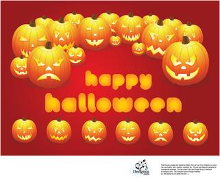 Happy Halloween-Karte mit Kürbissen