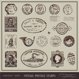 Vintage Postcards And Postage Stamps 01 Vector