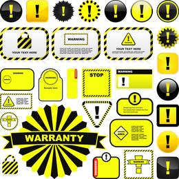 Sinais de alerta e etiquetas amarelas 01 Vector