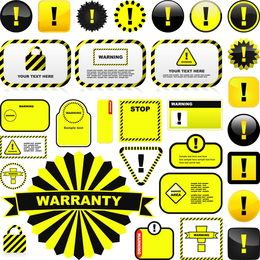 Yellow Warning Signs And Labels 01 Vector