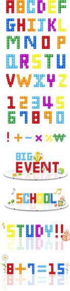 Tetris Letras Y Números Vector
