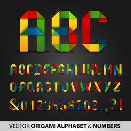 Letras De Origami Coloridas E Números Vector