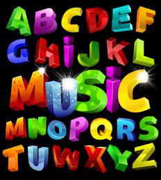 Vector colorido de letras tridimensionales