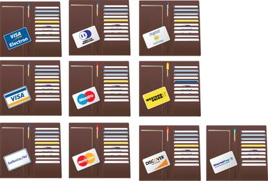 Vetor de cartão de crédito de carteira