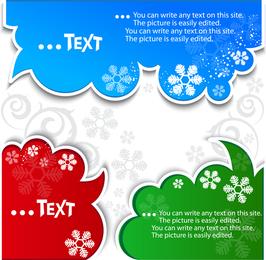 Bolhas de texto com floco de neve