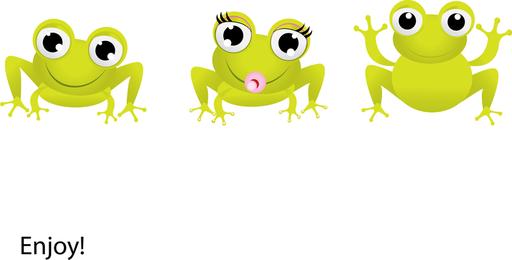 Rana verde con vector de ojos grandes
