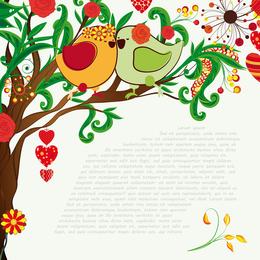 Handdrawn Ilustración Love Birds 03 Vector