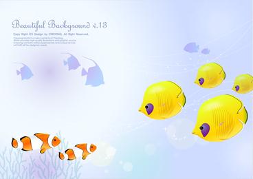 Vetor de tema de peixes tropicais