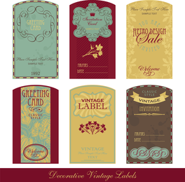 Oldfashioned Tag Set Vector