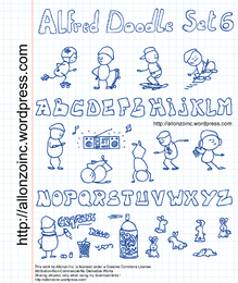 Alfred Doodle conjunto y letras