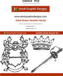 Elementos heráldicos de mão desenhada