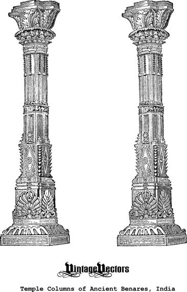 Ancient columns illustration