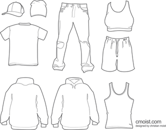 Clothing Hats Draft Line Vector