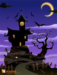 Halloween escuro assustador da casa