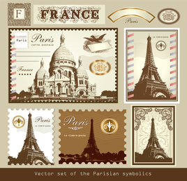 London und Paris ein Symbol des Vektor der Stempel-01