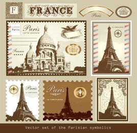 Londres e Paris, um símbolo de selos 01 Vector