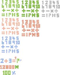 Pixelstyle letras y números vectoriales