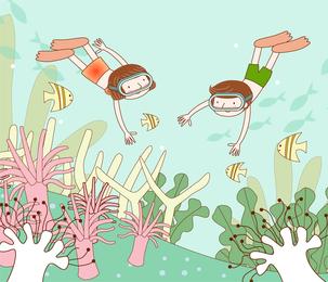 Desenhos de crianças de fantasia de vetor de tema de viagem