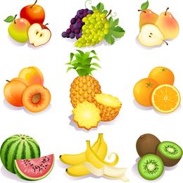 Frutas aisladas conjunto de ilustración