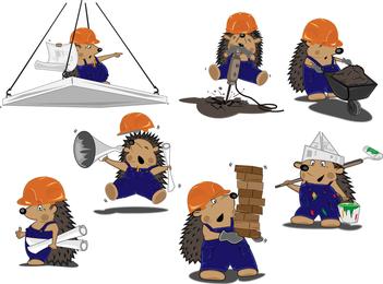 Construction Workers Vector Cute Hedgehog