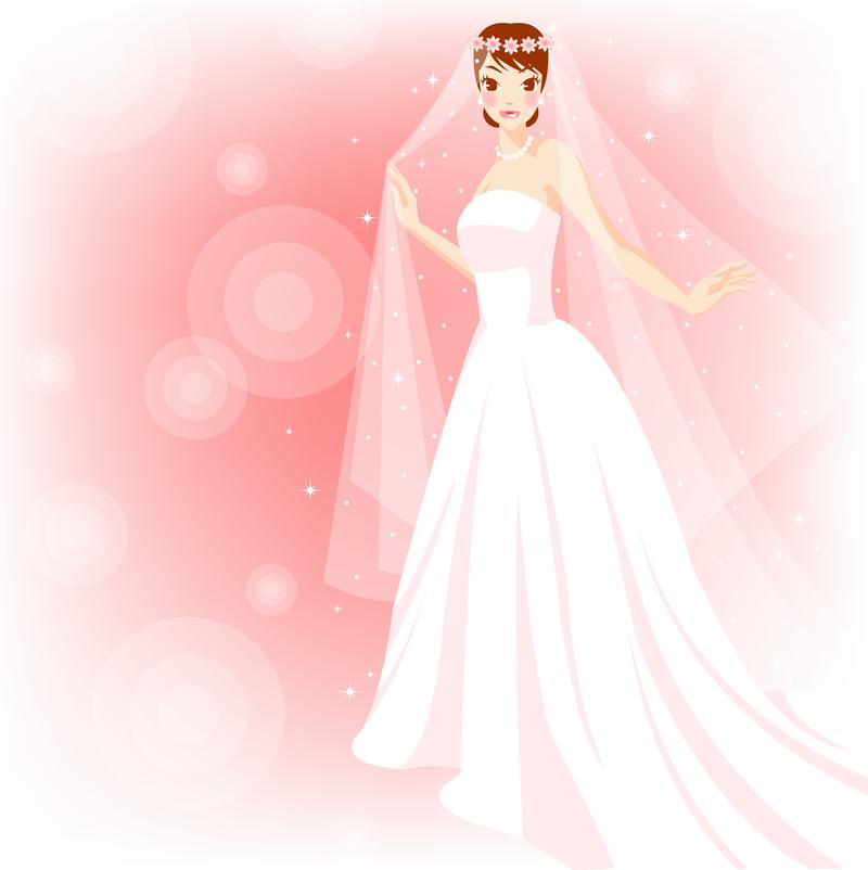 El fin de la novia con un vestido rosado - Descargar vector
