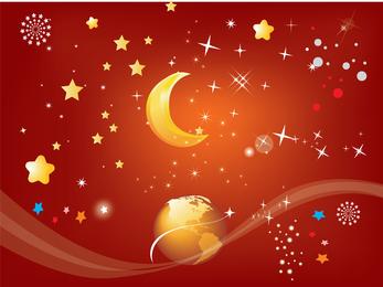 Fireworks Rain Vector Earth Moon And Star