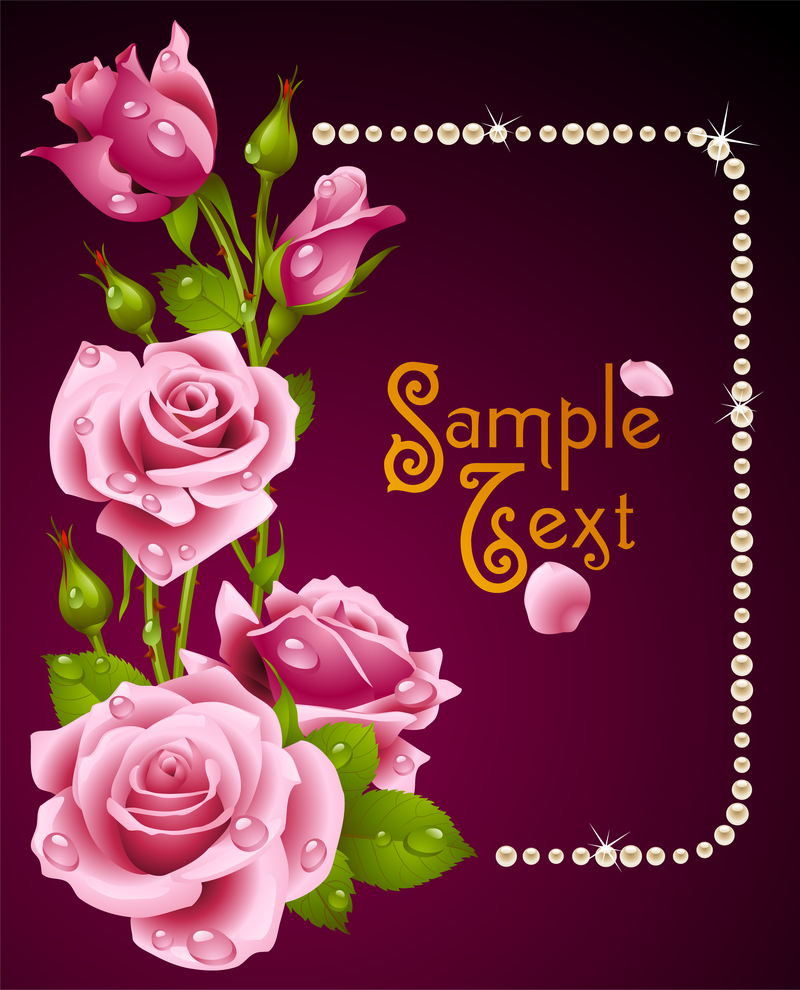 Happy Birthday Editable Card Free Vector Download 15 733: Romantic Roses Greeting Cards Vector