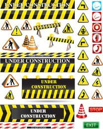 Vetor de sinais de aviso de estrada