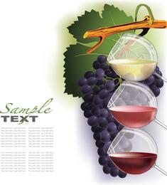 Vinho e uvas vector 2