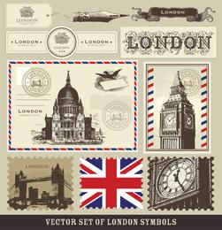 Londres y París Un Símbolo De Sellos 02 del vector