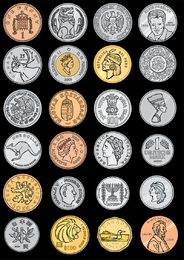 Variety Of Foreign Coins Vector