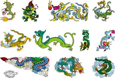 Vector dragão chinês clássico dos nove